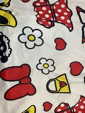 Disney Minnie Mouse Bedding Twin Fitted Sheet White Shoes Purse Bow Dress