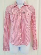 Womens Abercrombie & fitch Shirt size xs pink white stripe long sleeve vgc