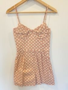 Forever New Romper Size 8 Peach White Shorts Rockabilly Spots Adjustable Straps