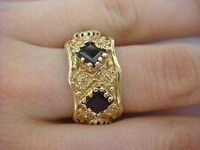 VINTAGE 14K YELLOW GOLD WIDE ETERNITY BAND WITH PRINCESS CUT GARNETS SIZE 8
