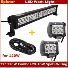"22Inch 120W LED Light Bar Combo + 4"" 18W Spot Lamp + Wiring Kit Truck 4X4WD 12V"