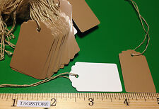 LOT 500 Scalloped KRAFT Print 1 X 1 5/8 Paper Merchandise Price Tags with String