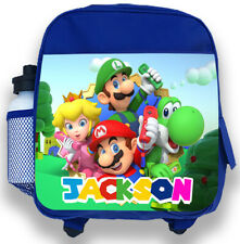 Personalised Kids Blue Backpack Any Name Super Mario Boys Childrens School Bag 2
