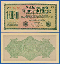 1000 Mark 1922  KASSENFRISCH  Wz. Dornen  Ro.75 d