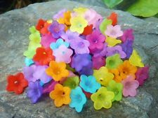 100 pcs Vibrant Colour Mix Frosted Acrylic Daisy Flower Beads 13mm x 7mm