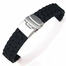 with Folding Clasp 24 mm N3 Black Silicone Watch Strap Waterproof Diving Band