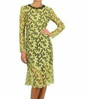 Erdem Silk Mid Length Dress Yellow Size UK 10 DH097 JJ 02
