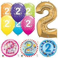 Age 2 - Happy 2nd Birthday Qualatex Balloons {Helium Party Balloons Boy/Girl}