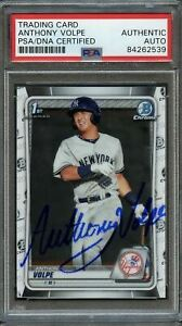 2020 Bowman Chrome #139 Anthony Volpe Signed Card PSA Slabbed Auto Yankees