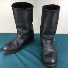 Used Double H Engineer 6102 Black Leather Buckle Soft Toe Mens Boots sz 11 D