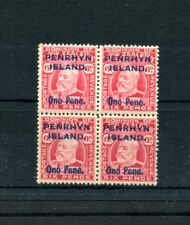 COOK IS PENRHYN 1914-15 6d carmine block of 4 mint, 2 stamps um/MNH. SG 22