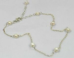 """Cultured Pearl & Sterling Silver 8""""-10"""" Tin Cup By the Yard Anklet"""