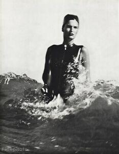 1985 Herb Ritts Vintage Female Swim Fashion Model Lynn Ocean Surf Photo 16x20