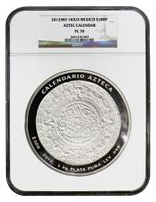 Mexico $100 Pesos,1Kilo Silver ProofLike Coin,2012,Mint,Aztec Calendar NGC PL-70