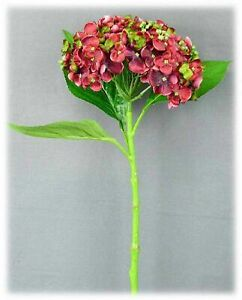 "Artificial Burgundy Red Green Hydrangea Flower Stem Floral Home Decor 19"" NEW"