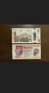 Bank Of Ireland 10 + 10 Pound Banknote. 20 Pounds Total. North Ireland Notes. Y