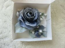 Blue Wrist Corsage & Boutonniere Set, Roses for prom, wedding, gift box