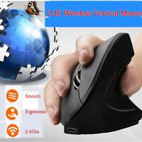 Souris optique rechargeable verticale ergonomique sans fil 2.4G 1600 DPI pour PC