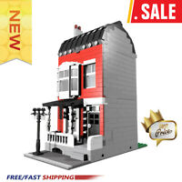 CITY Street 10374 Red Village Town House Fantasy Model Fortress Building Blocks