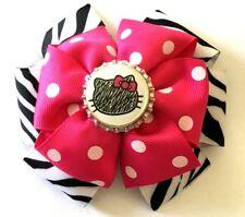 c96e69f2b Hello Kitty Pink Polka Dots & Zebra Print Girls Hair Bow Barrette Accessory