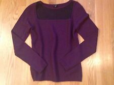NEW ANN TAYLOR MAROON PURPLE LACE PANEL SWEATER TOP SMALL SOLD OUT