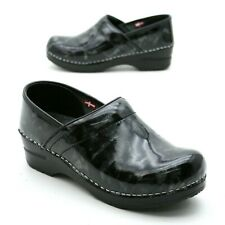 Sanita Ladies 38 (about 7.5-8 US) Professional Black Marbled Patent Leather Clog