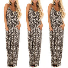 Women's Leopard Print V-neck Loose Long Dress Ladies Casual Sling Maxi Sundress