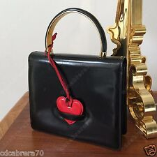 vintage MOSCHINO by Redwall black patent leather handbag with red heart closure