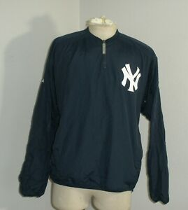 New York NY Yankees Majestic 1/4 Zip Mesh Lined Pullover Windbreaker Size Large