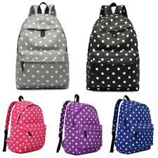 Polka Dots Ladies School Travel Backpack Shoulder Bag Rucksack Canvas A4 Zip