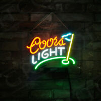 Coors Light Golf Flag Masters Man Cave Home Neon Sign Light Bud Bar Game Room
