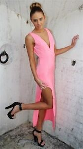 Passion Fusion Pretty in Pink Low Cut Midi Fitted Party Dress Size M NWT