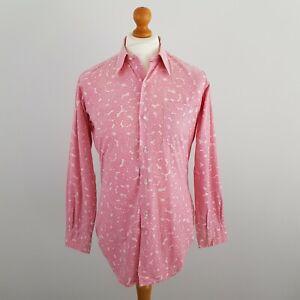 "John Morgan Mens Pink Circle Print Long Sleeve Slim Fit Formal Shirt Size 15.5"""
