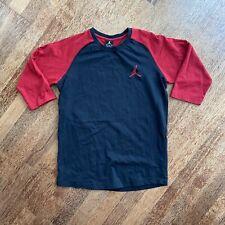 Air Jordan Black/Red Logo Baseball 3/4 Sleeve T-shirt Sz Medium