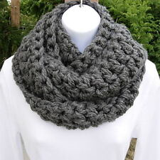 INFINITY SCARF LOOP COWL  Solid Gray Gray, Handmade Crochet Thick Winter Circle