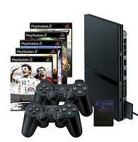 SONY Playstation  2 Slim schwarz (PS2)+ 5 Spiele + 2 Controller + Memory Card