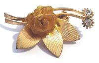 Brooch Vintage Pin Handmade Flower Rhinestone Rhinestones Clear Figural Flowers