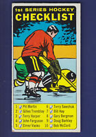 Checklist 1st Series (Marked) 1964-65 Topps Hockey ''Tallboys'' #54 (VG)