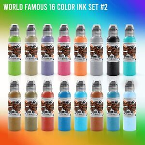 World Famous 16 Color 1oz - Tattoo Ink Set #2 Best Tattoo Ink