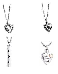 Heart Urn Necklace Pendant Cremation Ashes Locket Keepsake Memorial & Gift Bag