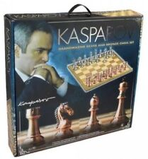 "NIB Kasparov Grandmaster Silver Bronze Chess Set with 20"" Wood Board 4 1/4"" King"