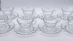SET of 8 Fostoria Elegant Clear Depression Glass Fleur De Lis Coffee Cup Saucer