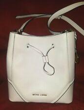 Michael Kors NICOLE 35S9GNM3L LG Vanilla Genuine Leather Drawstr Bucket Bag NWT