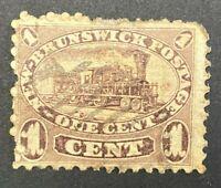 New Brunswick Canada SG 7 Scott 6 F HR 1860 1¢ Dull Claret Fresh Example ST6