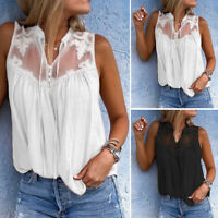 ZANZEA Womens Summer Sleeveless Lace Patchwork Loose Beach Vest Tops Blouse