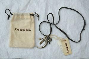 *BRAND NEW* Diesel Mens Leather Skull / Horn charm Necklace