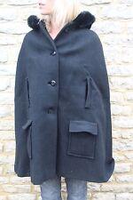 Vintage 50s 60s Black Cape Jacket Rabbit Trimmed Hood S