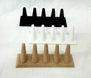 NEW 5 Ring Finger Jewelry Display Velvet Leather Linen Countertop Ring Holder