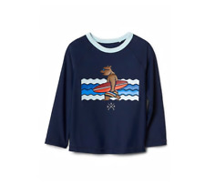 Gap Baby Boy 12 18 Bear Swimwear Swim Raglan Rashguard shirt long sleeve Toddler