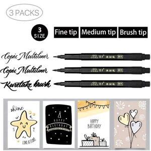 3 Pcs Calligraphy Pen Brush Needle Art Drawing Set Signature Waterproof lnk